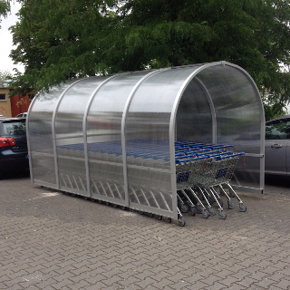 Economy trolley shelter with curved roof