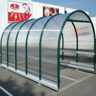 Trolley shelter with curved roof